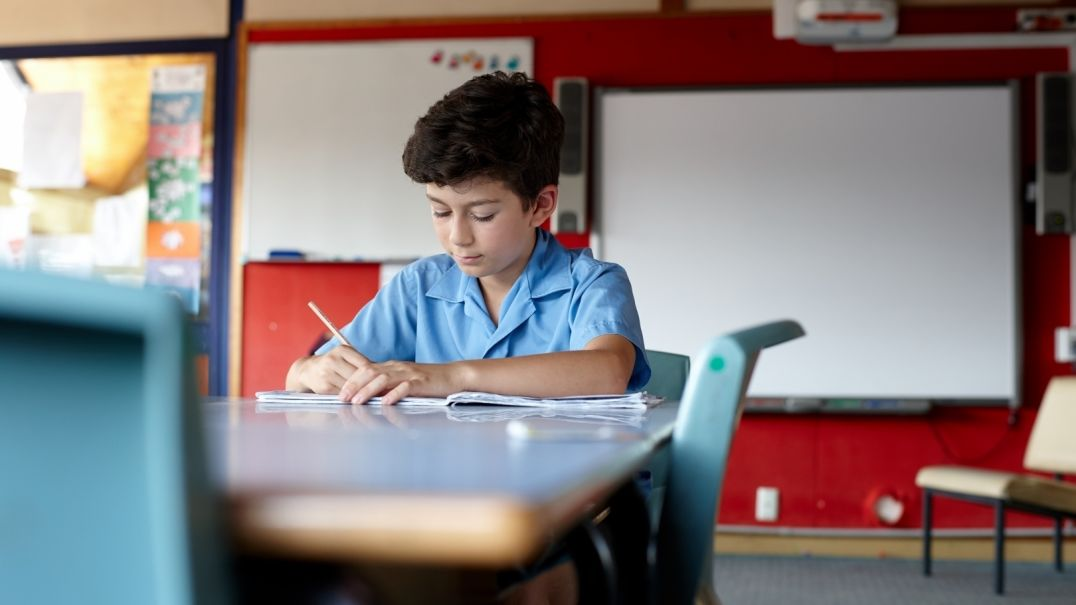 Young boy studying in classroom