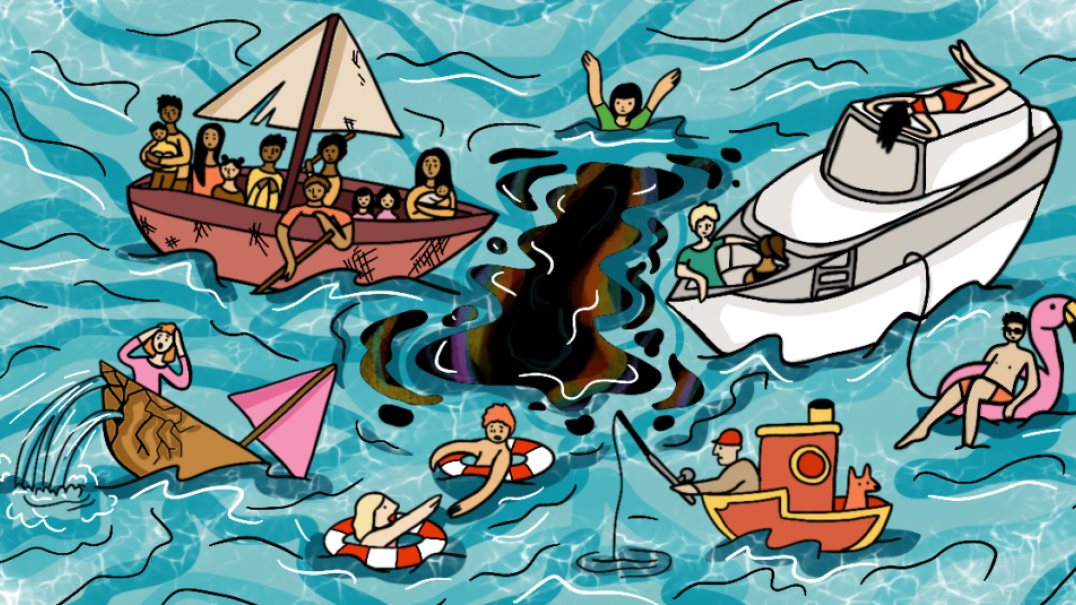 Cartoon image of people on boats out at sea