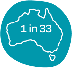 Map of Australia with numbers one in thirty three